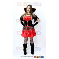 Fantasia Bruxa Roupa De Vampira + Luvas , Halloween Vestido