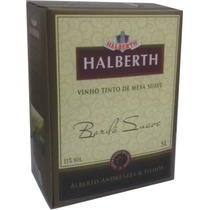 Vinho Bordô Suave Bag In Box 5 Litros, Halberth