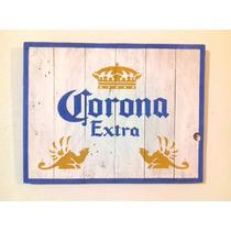 Cuadro Anuncio Cerveza Corona Extra Estilo Antiguo Madera