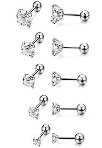 8a6c46bcda90 Funrun Jewelry 5 Pendientes De Acero Inoxidable Para Mujer -   915.39 en Mercado  Libre