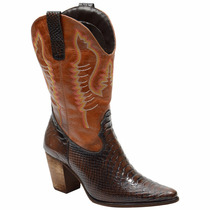 Bota Country Texana Feminina Anaconda Com Bordada Escrete