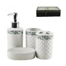 Kit Conjunto Jogo De Banheiro Lavabo De Porcelana Decorado C