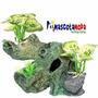 Tronco Artificial Con Plantas Para Pecera Acuario Ro2154