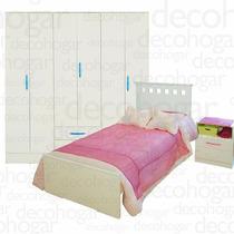 Dormitorio Juvenil Cama +mesa Luz +placard 6 Puertas Mosconi