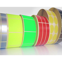 Etiquetas Color Verde Amarillo Naranja Rollo 30 Mm X 14 Mm