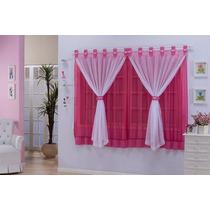 Cortina Infantil Manoela 2,00x1,70 Pink E Branco Tecido Voil