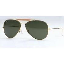 Óculos De Sol Rayban Caçador Dourado L.verde Com Mola