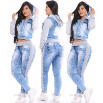 Conjunto Calça Jeans + Jaqueta Jeans Com Moletom