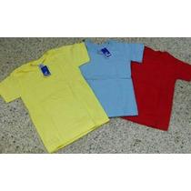 Franelas Escolares Ovejita Amarillas Rojas Y Azul Celeste