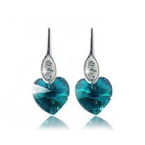 Aretes Mujer Corazón Blue Zircone Cristal Swarovski