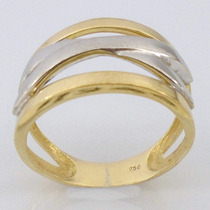 4379 Anel De Ouro 18k 750 Com Ouro Branco