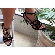 Sandália Festa Gladiadora Camurça Marca Sense Shoes Tam.37