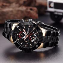 Relógio Esportivo Masculino Aço Cromado Luxo Militar Curren