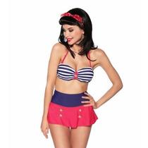 Bikini Retro Vintage, Traje De Baño Mujer Push Up Mini Falda