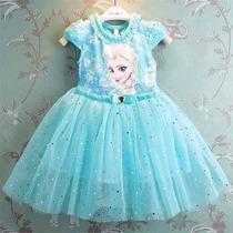 Vestido Festa Frozen Elsa Anna Luxo Importado