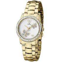 Relógio Feminino De Luxo Champion Ch24115h Dourado E Branco