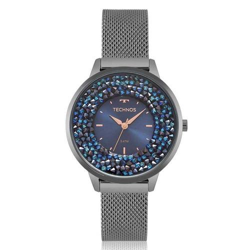 59ef262a060 Relógio Technos Feminino Crystal 2035mqc 5a Cinza + Nf - R  499