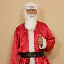Roupa De Papai Noel Cetim Extra Grande Kit Natal - G1