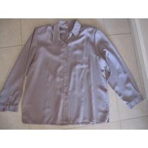 Camisa Color Chocolate Tipo Seda Talle Xl Manga Larga
