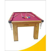 Mesa De Snooker Residencial Cerejeira Com Pedra Ardósia