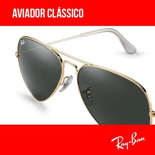 b6037ec8933c1 Óculos Ray-ban Aviador Original Rb3025 Várias Cores Garantia - R  320,00 em  Mercado Livre