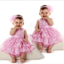 Vestido Festa Infantil Importado Rosa Tiara Pronta Entrega