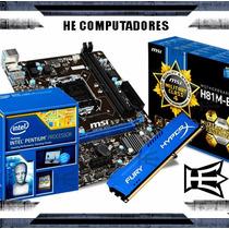 Kit Placa Mãe H81 + Processador Intel G3260 + 4gb Hyperx
