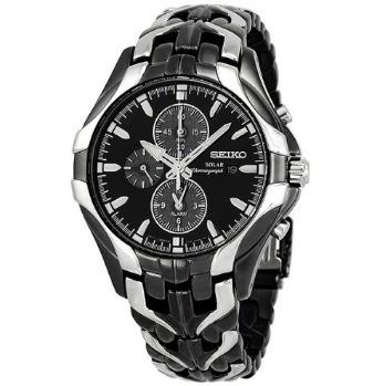 b09fe80c326 Relógio Seiko Solar Preto branco Aço Excelsior Crono Alarme - R ...