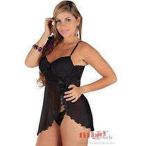 Presente Natal Feminino Camisola Olivia Preta Lingerie Sexy