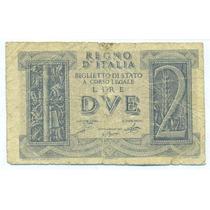 Italia Escaso Billete De 2 Liras Año 1939 Vf Pick #27
