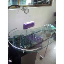 Mesa Para Manicurista Vidrio Biselado Con 3 Gavetas