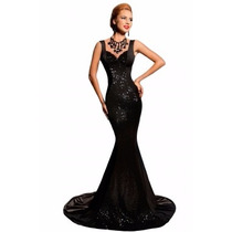 Sexy Elegante Vestido Largo Noche Fiesta Brillo 60825