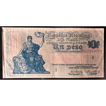 Billete De Un Peso Moneda Nacional Antiguo Botero 1821i Mb