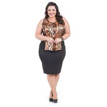 Blusa Feminina Verão Plus Size Regata Cetim E Viscolycra