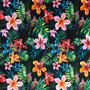 Flores Tropicales Negro (Polilycra)