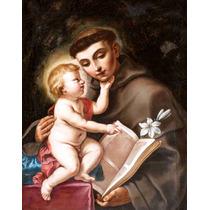 Lienzo Tela San Antonio De Padua Con Niño Arte Sacro 64 X 50