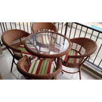 Jogo Conjunto 4 Cadeira Em Fibra Sintética Para Varanda