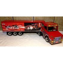 Caminhão Brinquedo Grande Artesanal De Madeira Coca Cola