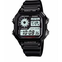 Relogio Casio Ae 1200w-1a Borracha-mapa Preto,crono,alarm
