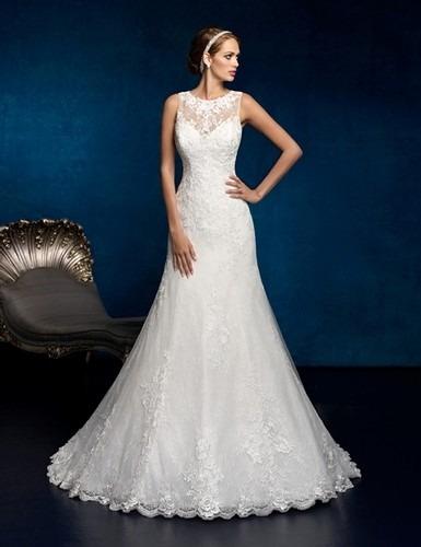 hermoso vestido de novia boda sirena encaje escote espalda