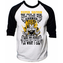 Raglan 3/4 Camisa Dragon Ball Goku Monkey Z Gt Vegeta Pride