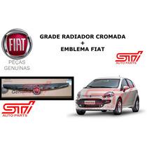 Grade Cromada + Emblema Para Choque Novo Punto Original