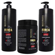 Kit Shampoo Condicionador 1l Máscara 1kg Força Com Pimenta
