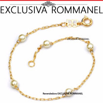 Pulseira Fio Cartier Perolas 4mm Banho Ouro 550687 Rommanel