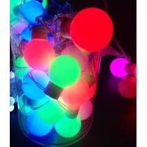 Cordão Enfeite Natal 20 Bolas Led/neon 5cm Cada Cordão 5.5m