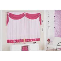 Cortina Margarida 2,oox1,70 Infantil Rosa E Pink Promoção