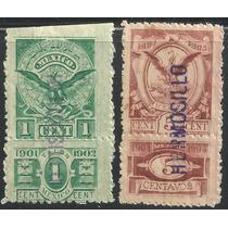 Timbres Fiscales Con Talón 1902-1905 Águilas 1 Y 5 Cts. Nuev