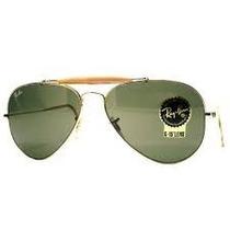Óculos Rayban Caçador Dourado L.verde Com Mola