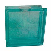 Vaso Castiçal Quadrado Bloco De Vidro Azul Em Vidro
