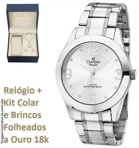 633ad0d14c3 Relógio Champion Feminino Prateado Ch24268q + Brinde Com Nf - R  173 ...